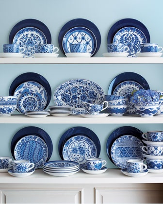 The cobalt chargers drew my eye, but like the patterns to. Traditional Dinnerware at Neiman Marcus.