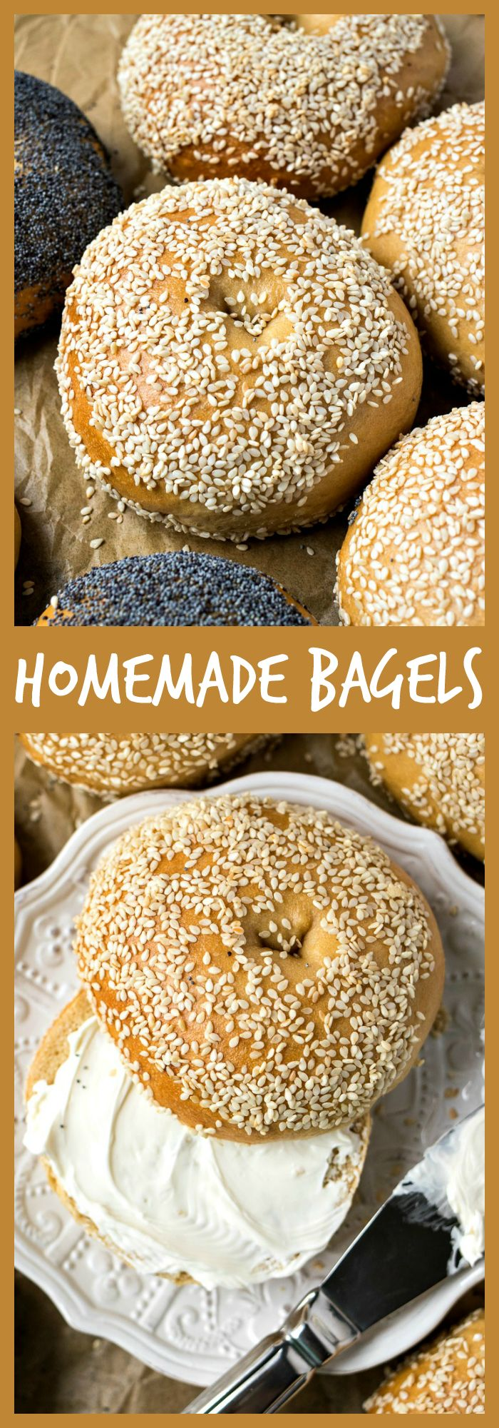 Homemade Bagels – The chewiest homemade bagels you'll ever make, with the perfect crispy, shiny shell on the outside. You won't ever want to toast your bagels again after trying these! #bagels #brunch #breakfast #bread #recipe