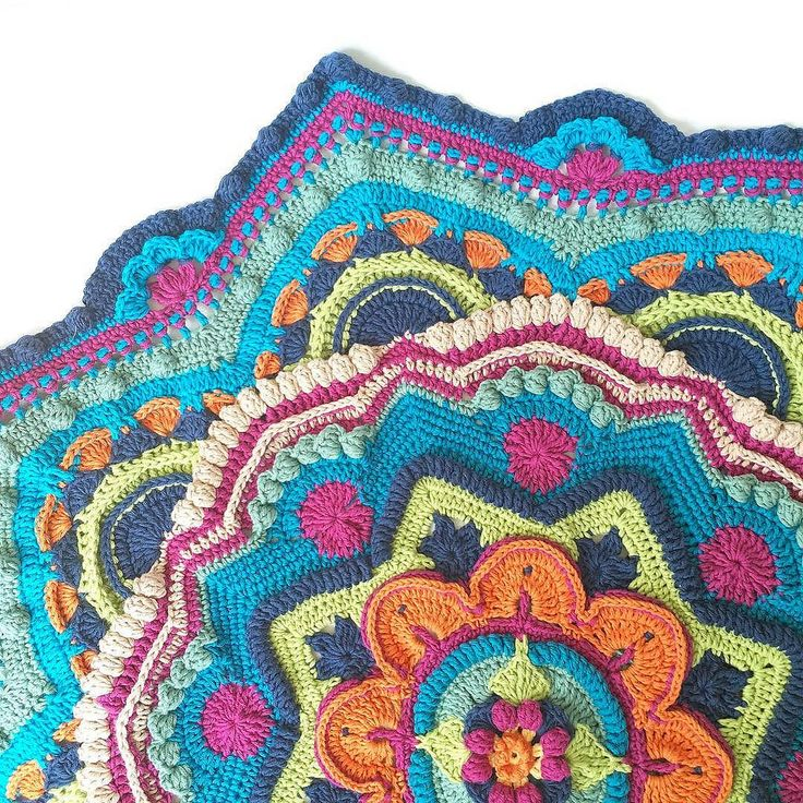 Almost through Part 7 of the Mandala Madness CAL by Helen Shrimpton. I'm in that eternal dilemma where I started the project to use up stash yarn and have now run out of said yarn to finish the project! Not super in love with my colors but the pattern i