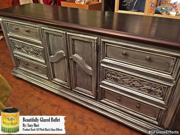 Suzy Hurt created a lovely gray look for this dresser with General Finishes Pitch Black Glaze Effects. Adding Glaze Effects to your projects is a great way to create beautiful decorative finishes such as distressing, marbling, shabby chic, burnishing, color washing, rag rolling and wood graining. Check out GF's tutorial video on glazing, http://bit.ly/1sNFzHJ  #generalfinishes #gfglazeeffects
