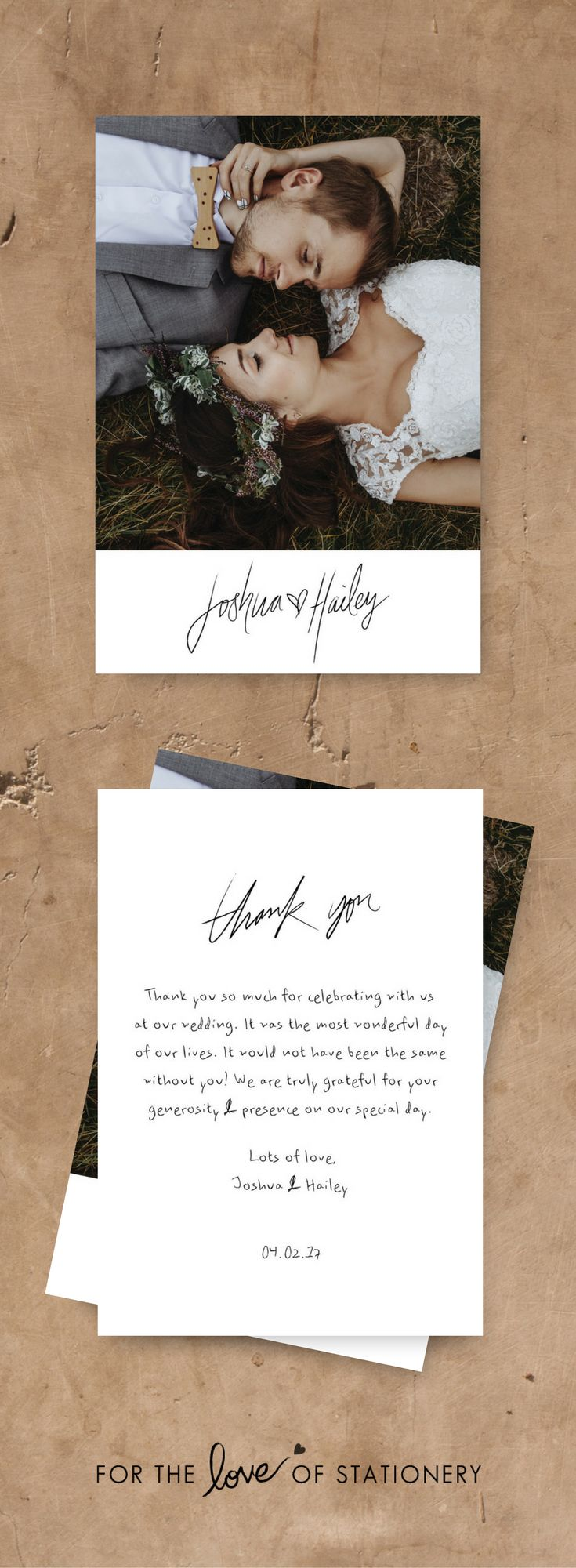 Rustic Wedding Inspiration   Wedding Thank You Cards   Modern Calligraphy   Thank You Cards with Photos   For the Love of Stationery