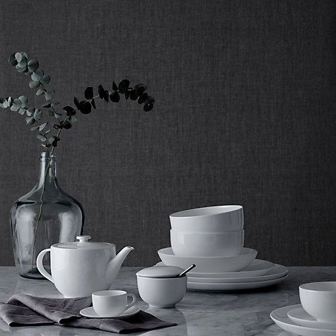 Buy John Lewis Contour Bone China Place Setting, 3 Piece, White Online at johnlewis.com