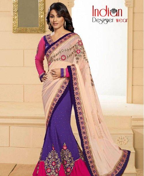 Interesting Pale Pink & Indigo Saree