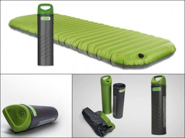 This green AeroBed PakMat air bed would make a perfect temporary bed for guests or a comfortable alternative to the ground on a camping trip. Storage cylinder doubles up as a hand pump. GetdatGadget.com/aerobed-pakmat-hand-pump/ camping gear, best camping gear #camping