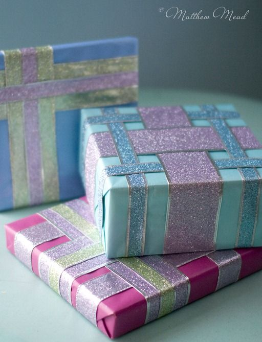 Very pretty ribbon idea, and perfect for presents that need to be posted. My bows always end up squished anyway.