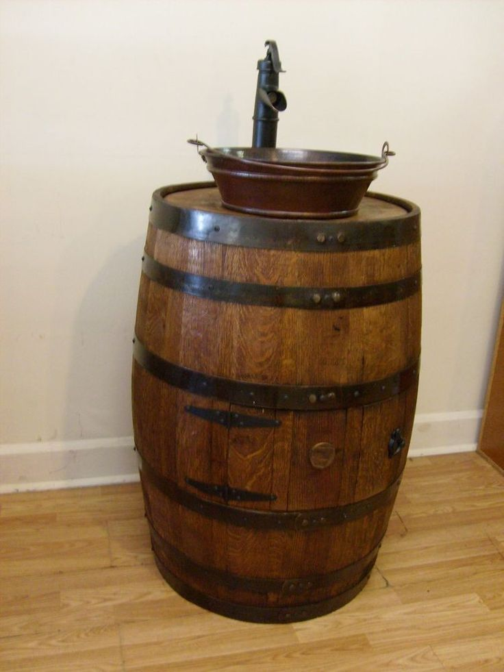 Whiskey Barrel Sink Darker Finish Copper Vessel Bucket Sink Bronze Pump Faucet