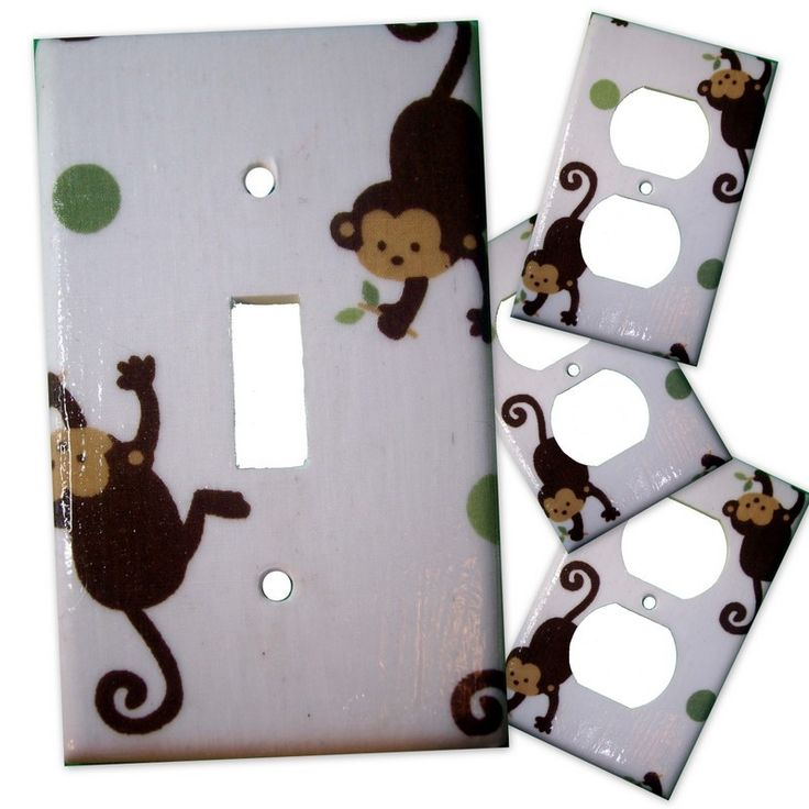 Easy decorating! Great gift for baby shower or as embellishment on gift wrap. Monkey Light Switch Plate/Outlet Covers Set. $17.99, via Etsy. Made to match Kids Line Jungle 123 bedding.