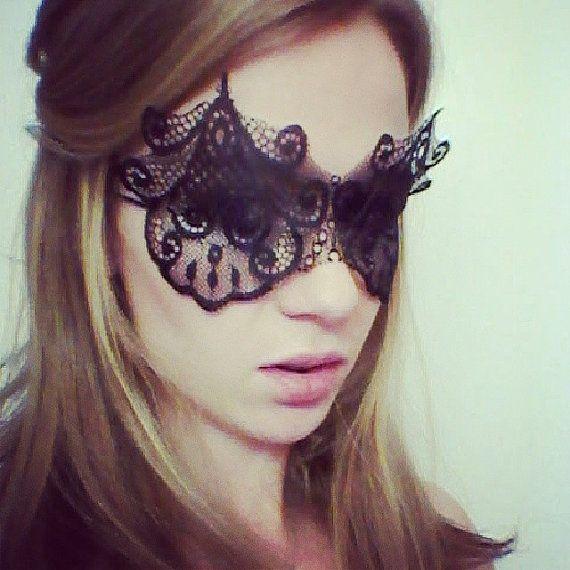 Black Lace Mask  Art Deco Lace Mask  Black by MSaHeadbands on Etsy, $25.00