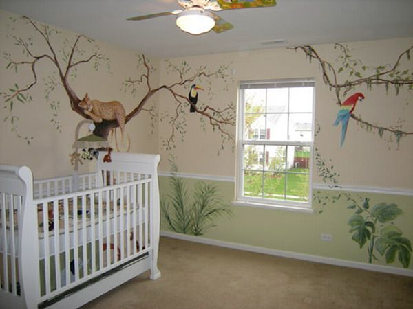 Jungle wall mural for nursery how to make jungle theme for Baby room mural ideas