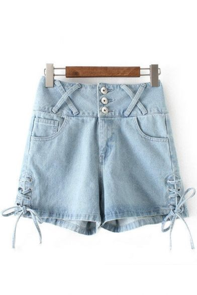 Summer's High Waist Buttons Down Lace Up Side Denim Shorts Hot Pants