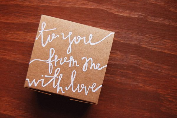 Hand-lettered gift box: Gift Wrapping, Gift Ideas, Diy Gifts, Wrapping Ideas