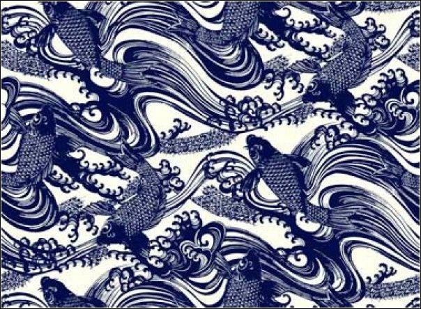 Katagami Asia Asian Blue Koi Fish Wave Wood Cut Japan Oriental Indigo Cotton Fabric Quilt Fabric