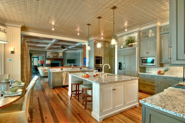 Holy Moly! Is this kitchen fabulous or what? Check out the ceiling, and this color is to die for...wow.: Cabinets Colors, Dreams Kitchens, Dreams Houses, Open Spaces, Tins Ceilings, Open Floors Plans, Islands, Kitchens Layout, Open Kitchens