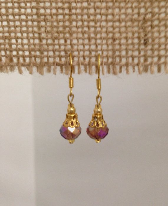 SALE  Purple Crystal Drop Earrings  Gold  8mm by SCBoutique123