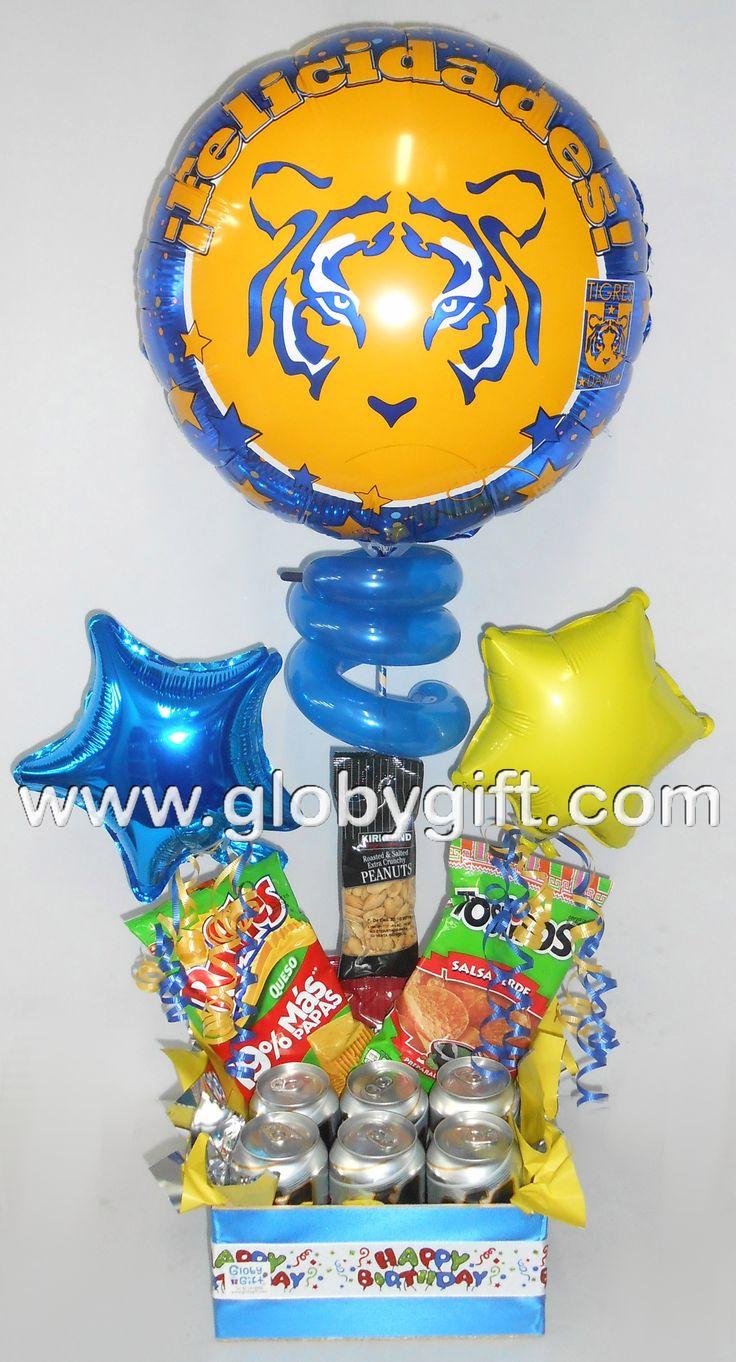 El regalo ideal para un Tigre de corazón, arreglo de globos de Tigres con cerveza y botana.