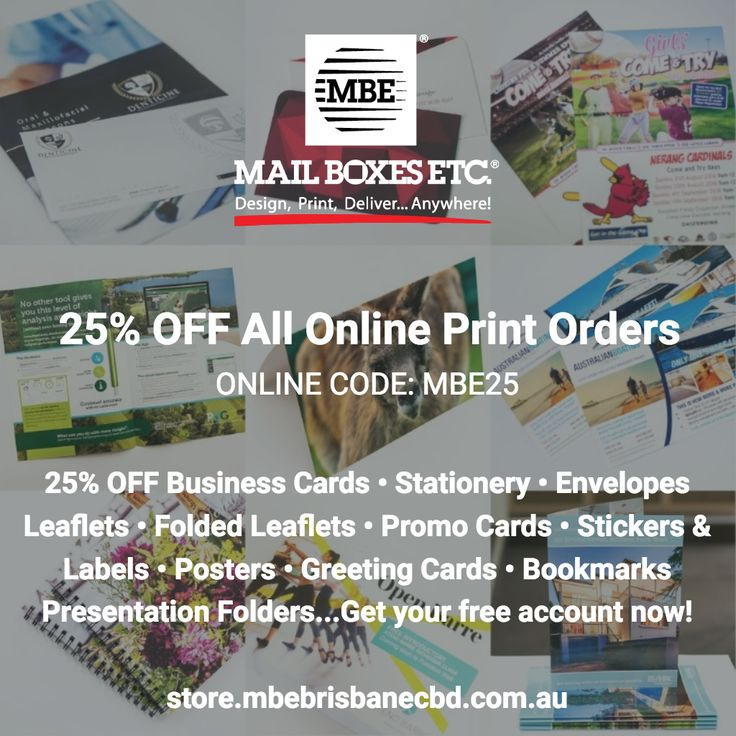 18 best promotions images on pinterest business cards campaign online code mbe25 25 off all print orders through 30092017 when you order online with mail boxes etc printed in australia includes nationwide reheart Gallery
