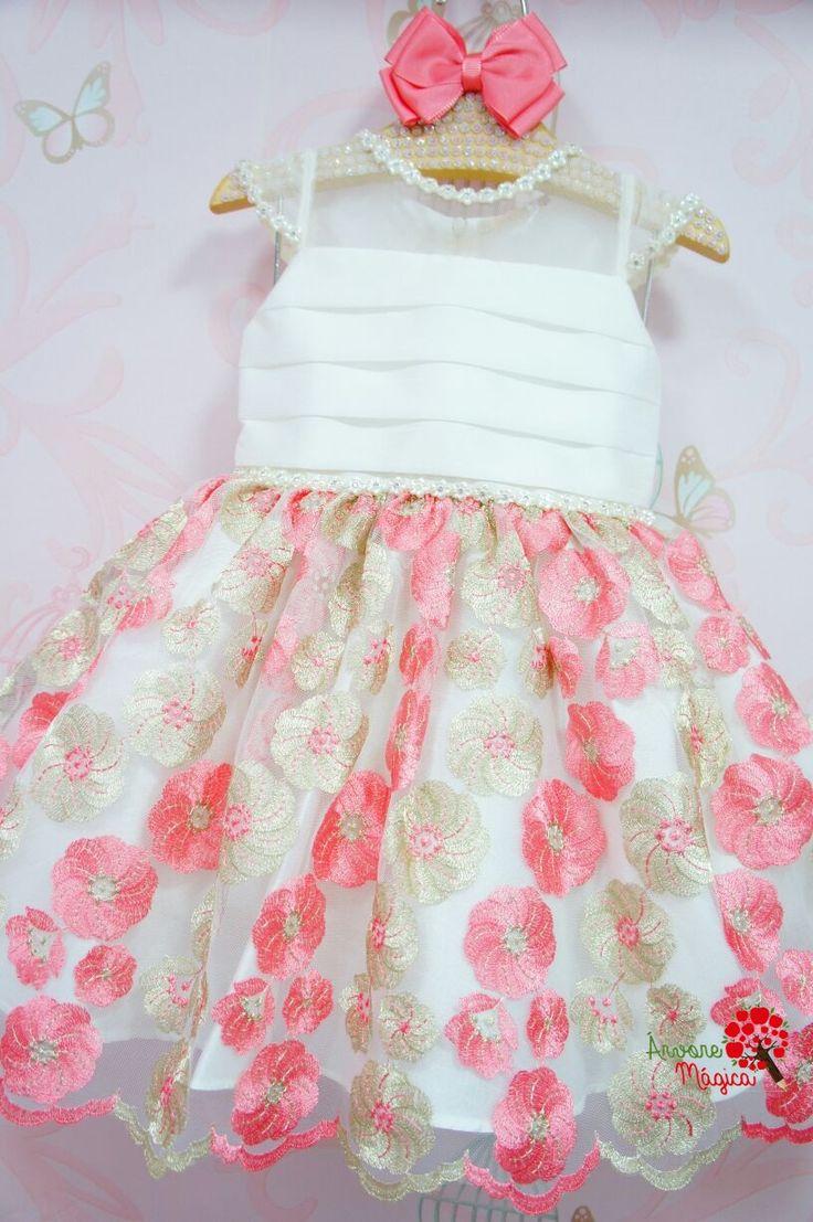 Vestido de Festa Infantil Bordados Rosa e Ouro Petit Cherie