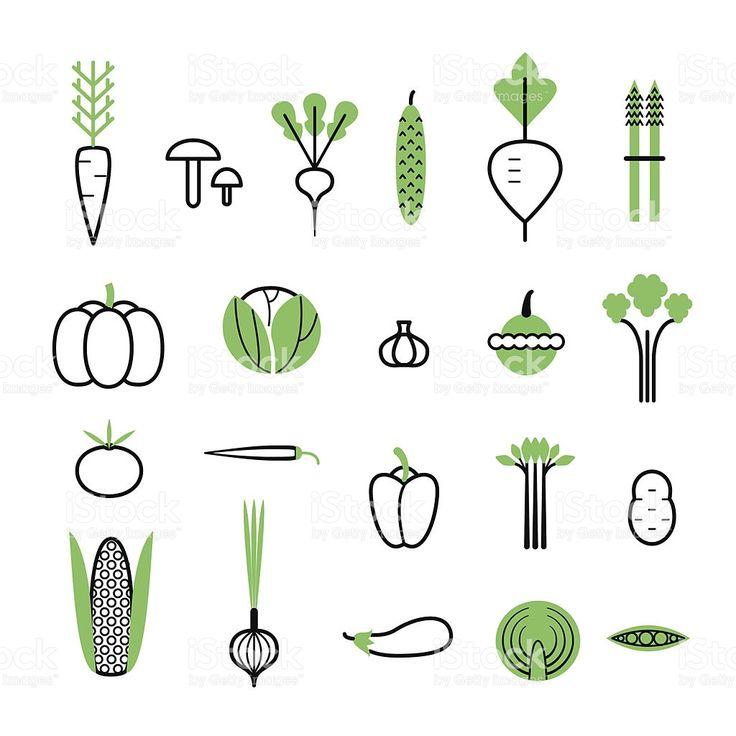 野菜設定されます。 アイコンの白い背景にします。 絶縁型 ロイヤリティフリーのイラスト素材
