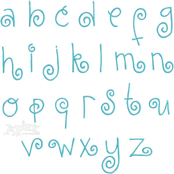 Kurlz Embroidery Fonts Set Includes: 3 inch Upper & 2.5 Lower Case Letters, Embroidery Fonts
