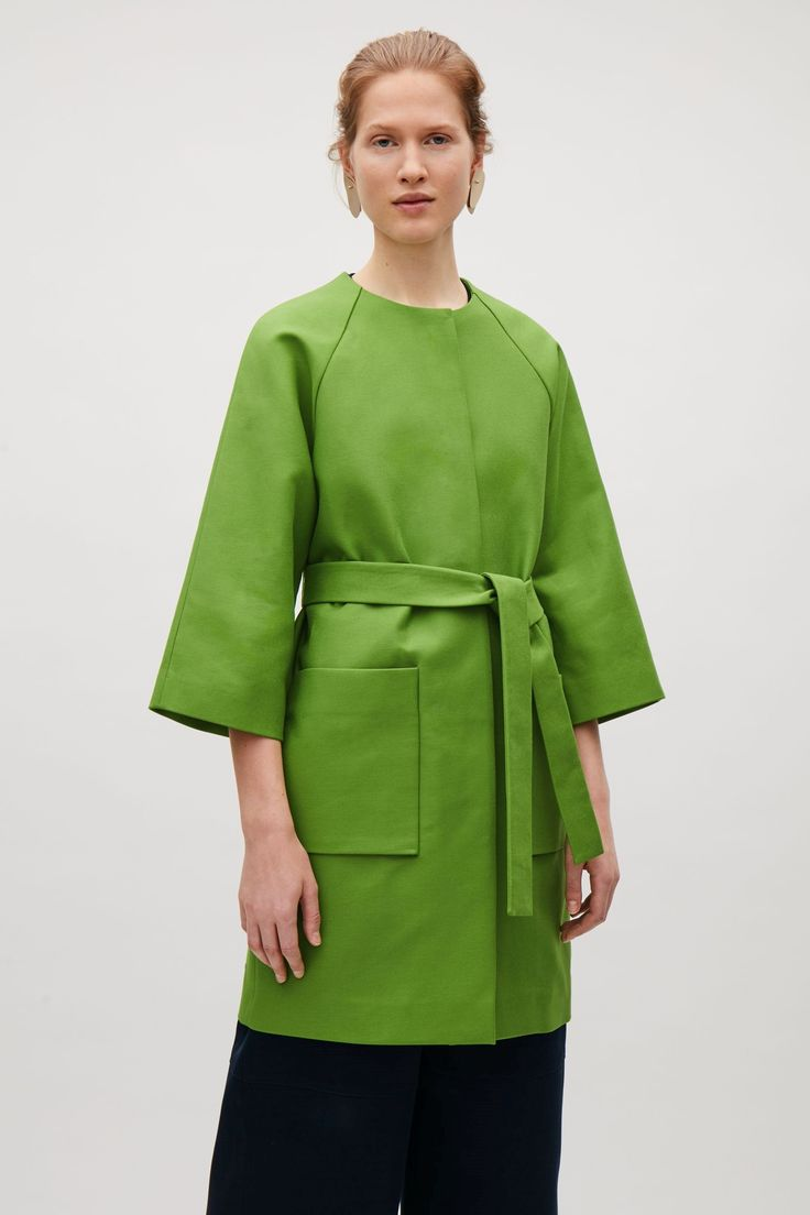 COS image 15 of Collarless coat with belt in Pear Green