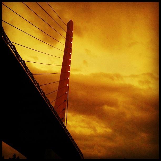 Sunset over the Calatrava bridge at Katehaki in Athens - Greece