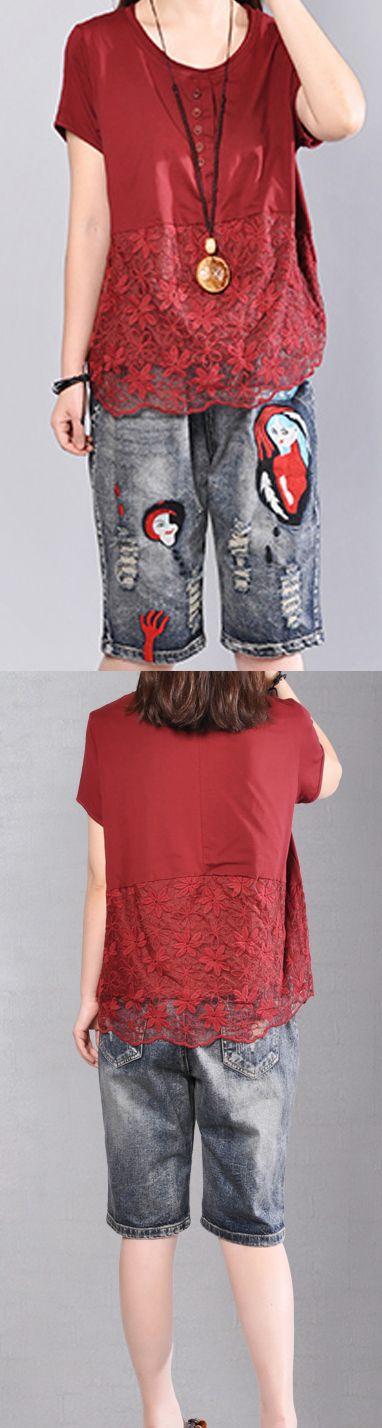 Fine red cotton blouse Loose fitting cotton cotton t shirt2018prints patchwork cotton clothing t shirt4