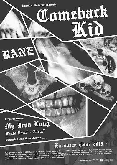 NEWS: The hardcore band, Comeback Kid, has announced a European tour, for May. Bane, My Iron Lung, World Eater, Client and Tausend Lowen Unter Feinden will be joining the tour, as support. You can check out the dates and details at http://digtb.us/1CxGxZt