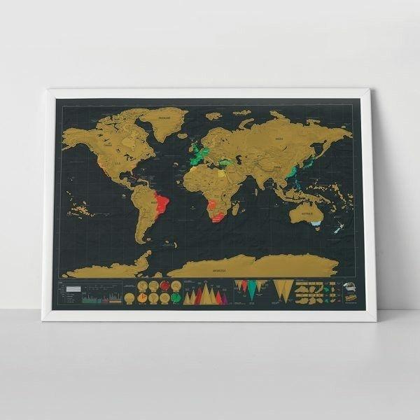 Weltkarte zum Freirubbeln  ausgezeichnete Geschenkidee  geeignet für Weltenbummler  bereiste Länder und neue Reiseziele kennzeichnen