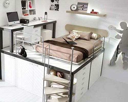 look at that. Its a loft bed with a desk up with it.