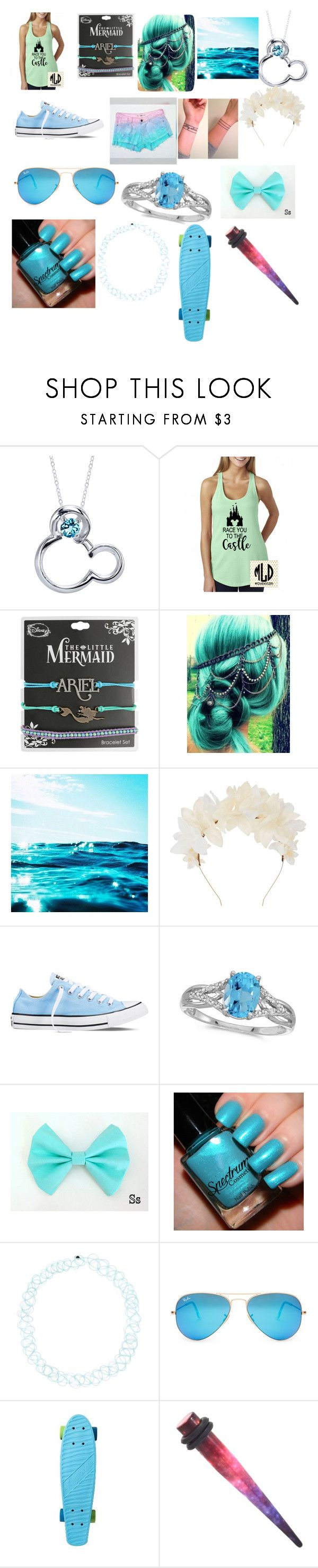 """""""Blue"""" by phils-eyelash on Polyvore featuring Disney, Lizzie Fortunato, Converse, Allurez, Blue Tattoo and Ray-Ban"""