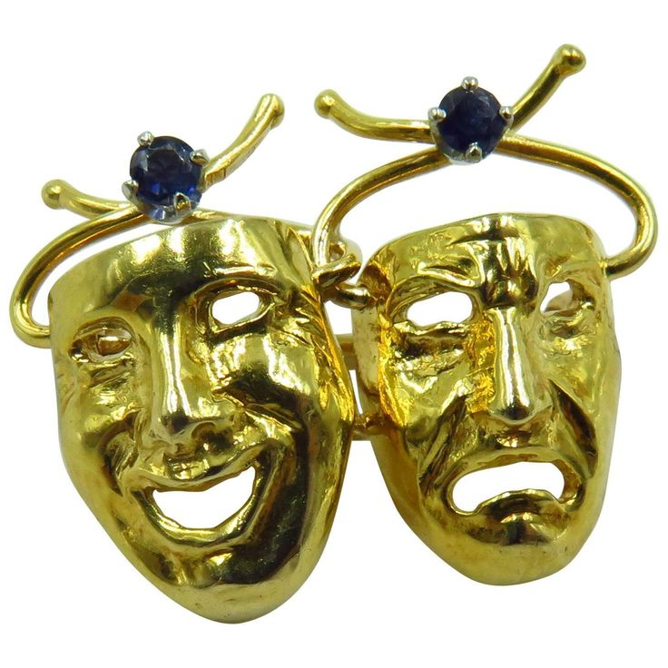 Whimsical 1960s Tiffany & Co Sapphire Comedy Tragedy Theater Masks Gold Pin | From a unique collection of vintage brooches at https://www.1stdibs.com/jewelry/brooches/brooches/