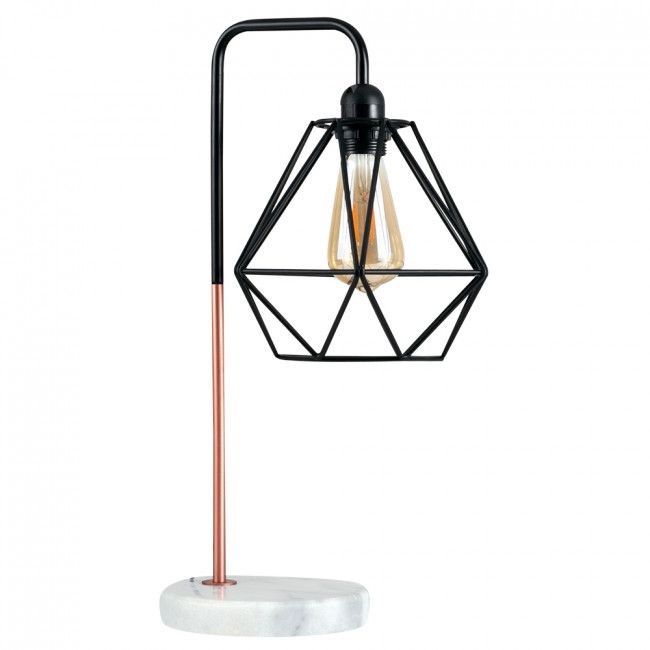 Industrial Style 'Talisman' Copper Table Lamp with White Marble Base and Copper Geometric Shade