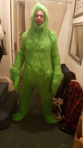 Adult full grinch suit. Face and gloves