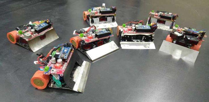 #Minisumo robot gang working on Genesis boards #jsumo http://www.jsumo.com/genesis-arduino-robot-controller-board-with-arduino-nano #arduino #arduinonano #robots #sumorobot