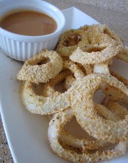 LOW-FAT BAKED ONION RINGS (LOW-FAT) — I have been seeing a few recipes for baked onion rings and thought I better try one!  My husband and I LOVE onion rings!  Whenever we go out, we just have to get some!  I combined a few of the recipes I had seen and came up with these (and they were SO GOOD!). They would be perfect at a summer BBQ or just as a delicious snack! ∰ Ingredients: onions, whole milk, panko crumbs, Italian bread crumbs, Ritz crackers, S, oregano, cayenne pepper.