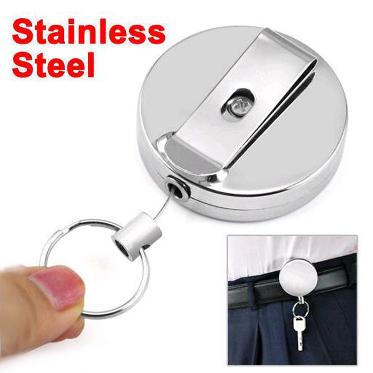 2016 New High quality wholesale Retractable Metal Card Badge Holder Steel Recoil Ring Belt Clip Pull Key Chain