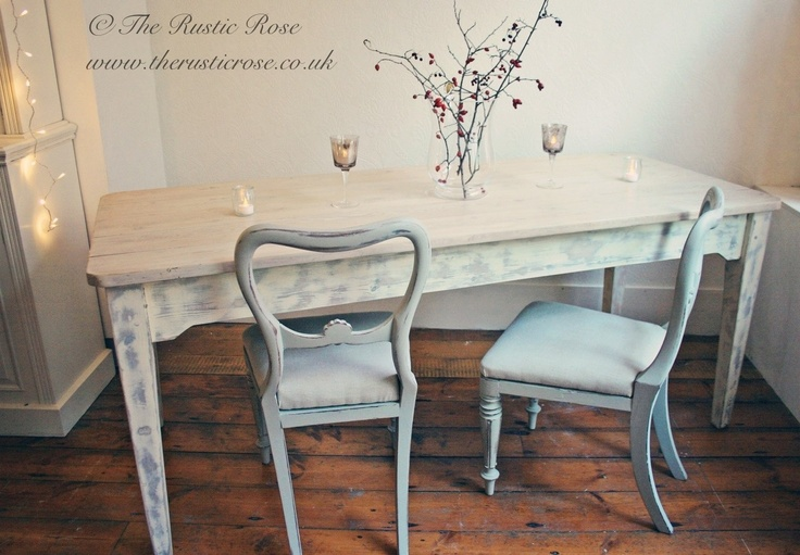 Whitewashed pine farmhouse table with grey shabby chic chairs Home DIY
