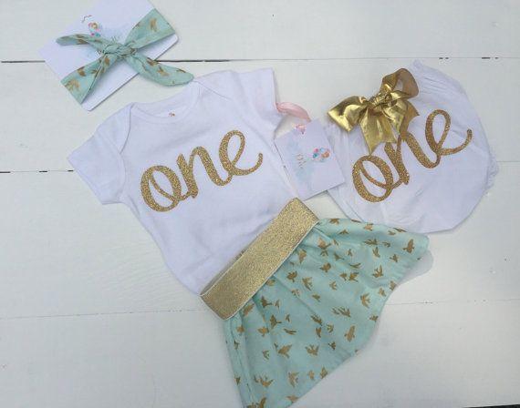 Een Aqua en goud eerste verjaardag outfit / één gouden baby