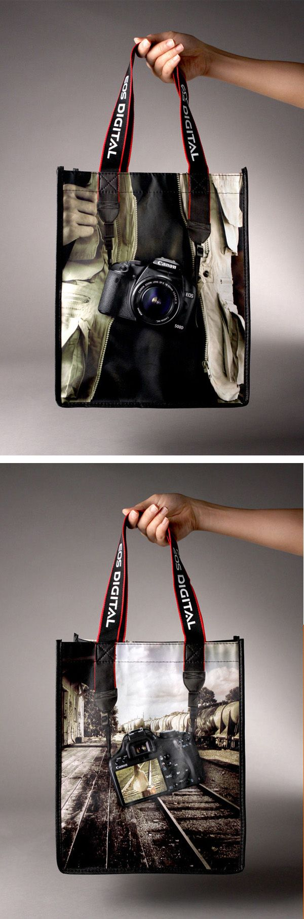 Great combination of a bag design using the handles as part of the motif