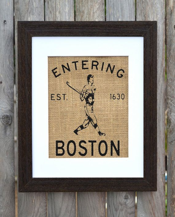 Entering Boston Burlap Wall Art. Boston Wall Art, Massachusetts Wall Art.  Burlap Wall