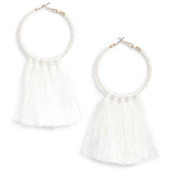 Women's Bp. Wrapped Tassel Hoop Earrings (£11) ❤ liked on Polyvore featuring jewelry, earrings, white, tassel earrings, wrap earrings, tassel jewelry, bp jewelry and tassle earrings