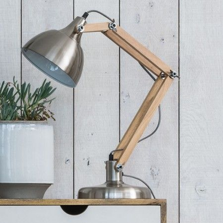 Wood & Brushed Steel Traditional Desk Lamp - Table Lamps - Lighting - Lighting & Mirrors