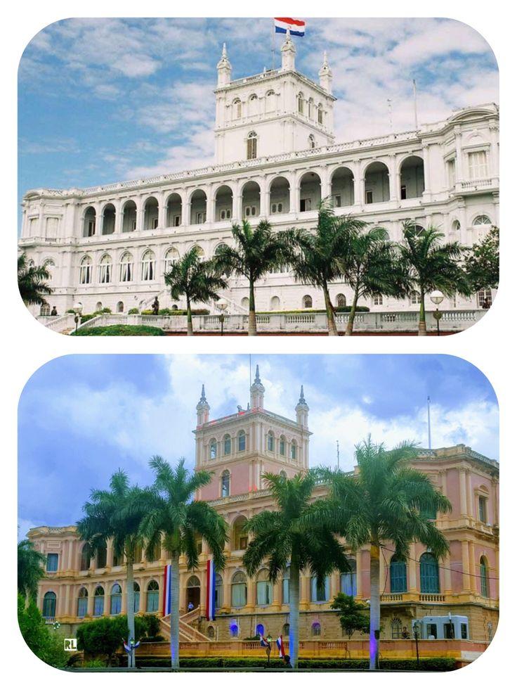 Palacio de Lopez antes de blanco y hoy de rosa