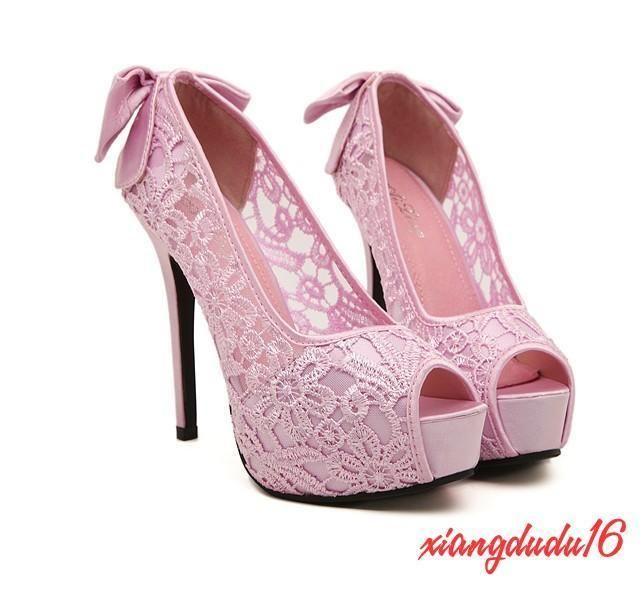 9857e9487fe Womens Formal Peep toe Platform Stiletto heel Lace Bridal Wedding ...