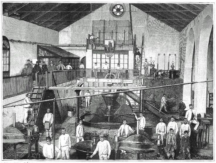 Interior de una fábrica industrial de aceites de oliva de Lora del Río (Sevilla), en una imagen de La Ilustración Española y Americana de 1890, y estampa con un bombín y una prensa hidráulica para la extracción de aceite de oliva de una casa de maquinaria de Córdoba, hacia 1930.