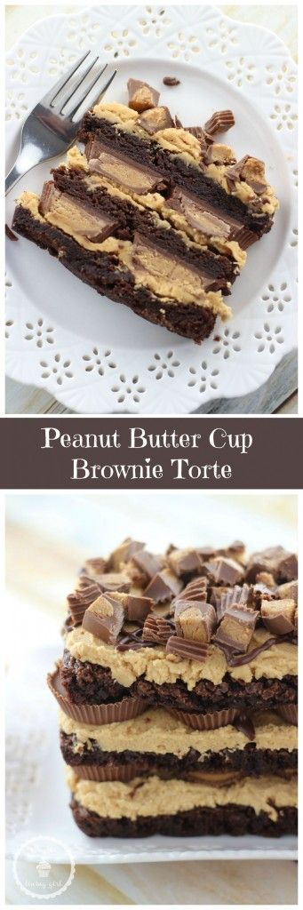 Peanut Butter Cup Brownie Torte! So much easier than it looks, and the ultimate in peanut butter and chocolate decadence!