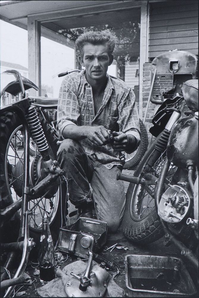 """Danny Lyon (American, born 1942) / """"My Triumph, broken gearbox spring, New Orleans,"""" 1964, printed 2006 / Silver gelatin print / Des Moines Art Center Permanent Collections; Gift of Jeff Perry in honor of Myron and Jacqueline Blank, 2009.129 / Photo Credit: Rich Sanders, Des Moines"""
