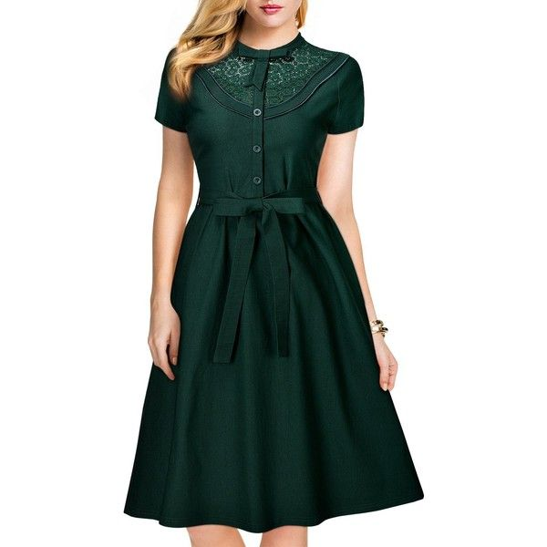 MissMay Women's Vintage 1940S Elegant Lace Short Sleeve A-Line Swing... (£27) ❤ liked on Polyvore featuring dresses, vintage dresses, short-sleeve dresses, short sleeve swing dress, green a line dress and green lace dress