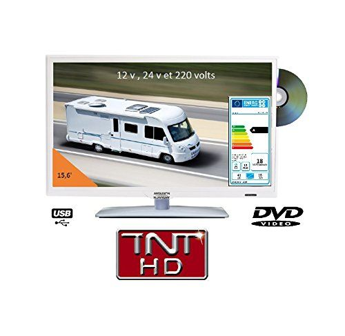 Télévision TV HD LED + DVD 39,6 CM BLANCHE 220v/12v/24v camping car | Your #1 Source for Televisions, Audio & Video and Home Theater