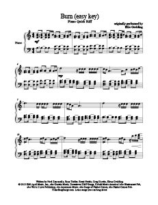 Burn - Ellie Goulding (easy key). Download free sheet music for over 200 hit songs at www.PianoBragSongs.com.